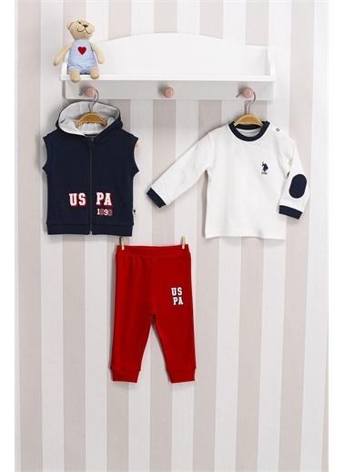 U.S. Polo Assn. Lisanslı Lacivert Çizgili Bebek 3 Lü Takım Lacivert